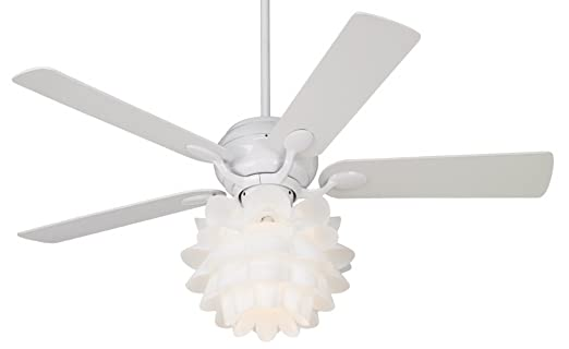 "52"" Casa Optima Flower Light Kit White Ceiling Fan"