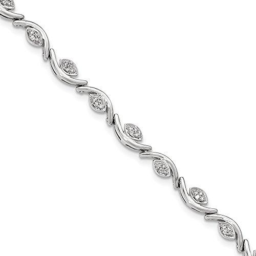White Gold Diamond Wave Bracelet (ICE CARATS 14k White Gold Diamond Wave Bracelet 7.50 Inch Fine Jewelry Gift Valentine Day Set For Women Heart)