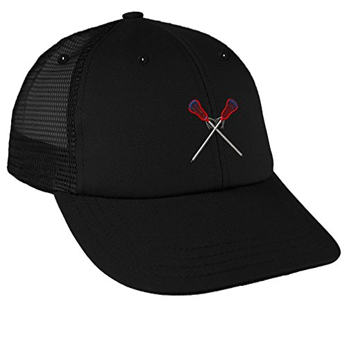 Lacrosse Sports #4 Embroidery Low Crown Mesh Golf Snapback Hat Black