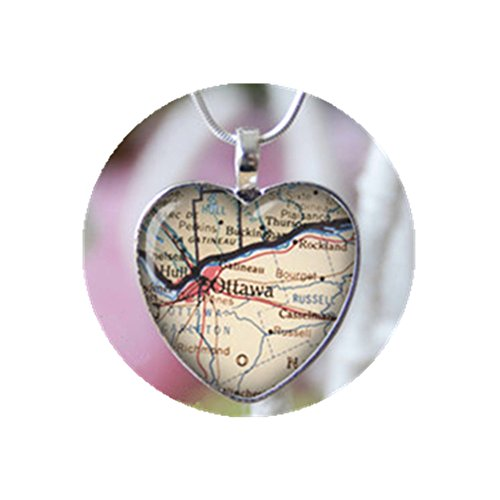 Ottawa Canada heart shape vintage map necklace. Location gift pendant.