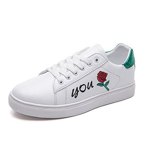 Hasag Zapatos Blancos Pequeños de Primavera y Otoño Zapatos Casuales de Mujer Zapatos Deportivos Zapatos Ligeros para Estudiantes B white green