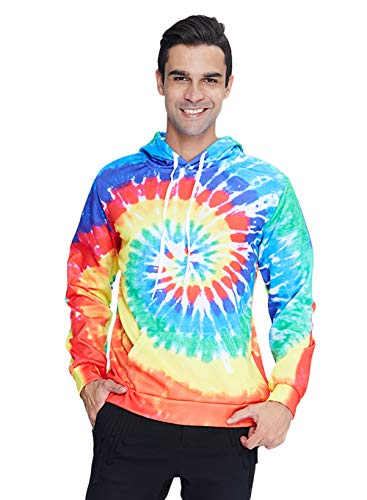 Mens Novelty Pullover Hoodies Colorful 3D Tie Dye Hooded Sweatshirt Fall Winter Long Sleeve Pull On Hoody Oversize Jumpers with Kanga Pocket