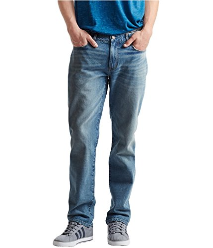 Aeropostale Mens Straight Relaxed Jeans, Blue, 27W x 28L