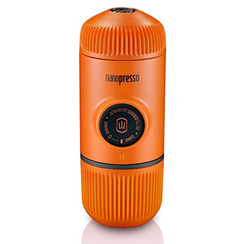 - Wacaco Nanopresso Portable Espresso Maker, Upgrade Version of Minipresso, 18 Bar Pressure, Orange Patrol Edition, Extra Small Travel Coffee Maker, Manually Operated. Perfect for Kitchen and Office
