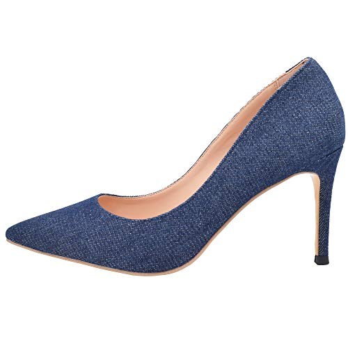 Lovirs Womens Denim Office Basic Slip on Pumps Stiletto Mid-Heel Pointy Toe Shoes for Party Dress 7.5 M US