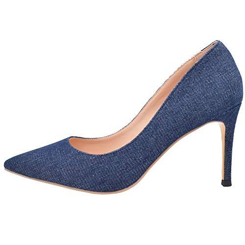 - Lovirs Womens Denim Office Basic Slip on Pumps Stiletto Mid-Heel Pointy Toe Shoes for Party Dress 7.5 M US
