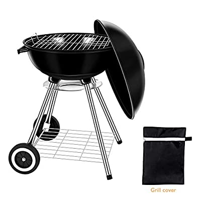 Miady 18-Inch Portable Kettle Charcoal Grill, Charcoal Barbecue Grill, BBQ Grill with Waterproof Grill Cover & Heat-Resistant Gloves