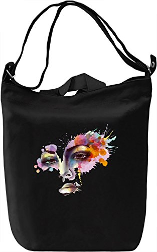 Watercolor Face Borsa Giornaliera Canvas Canvas Day Bag| 100% Premium Cotton Canvas| DTG Printing|