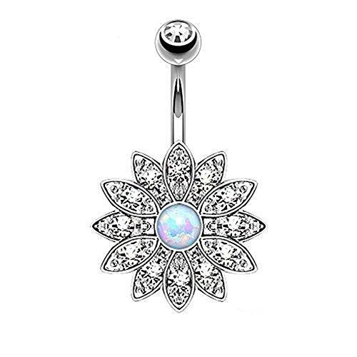 Belly Button Rings gLoaSublim,14G Bikini Jewelry Sun Flower Rhinestone Belly Button Bar Barbell Ring Piercing - Silver
