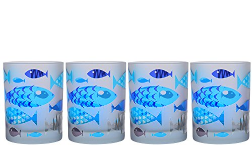 Culver S4/65-FFishBL Frosted Fish DOF Double Old Fashioned Glass 14-Ounce Set of 4