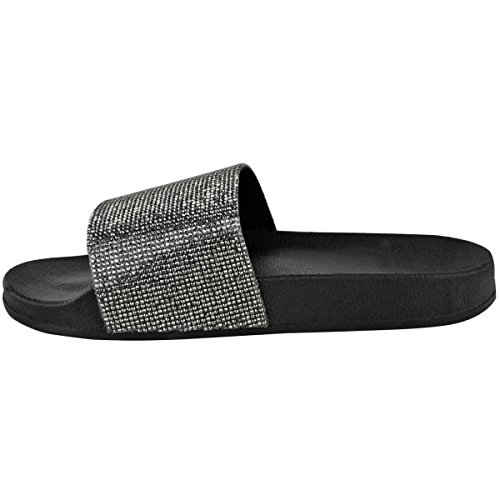 SheLikes  Ftw220_d5355, Damen Hausschuhe Black/Gun Metal Grey Diamante (234)