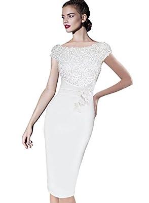 VFSHOW Womens Elegant Floral Applique Cocktail Party Bridesmaid Sheath Dress