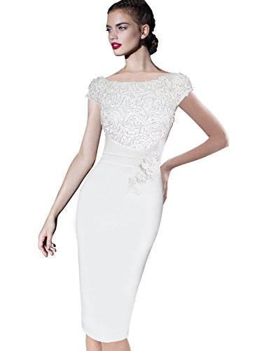VFSHOW Womens Elegant Floral Applique Cocktail Party Bridesmaid Sheath Dress 1073 WHT M