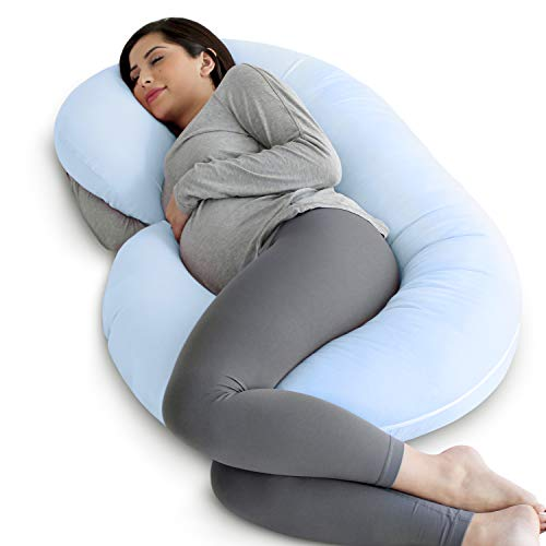 PharMeDoc Pregnancy Pillow with Blue Jersey Cover, C Shaped Full Body Pillow - Available in Blue,...