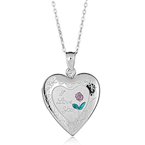 AVORA 925 Sterling Silver I Love You Heart Photo Locket Necklace with 18
