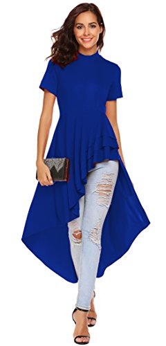 fle High Low Asymmetrical Short Sleeve Bodycon Tops Blouse Shirt Dress (XL, Royal Blue) ()