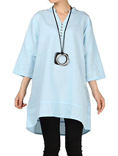 Mordenmiss Women's Cotton Linen Blouse V-Neck Tunic Tops 3/4 Sleeve Shirt Clothing XL Light - Pencil Linen Skirt