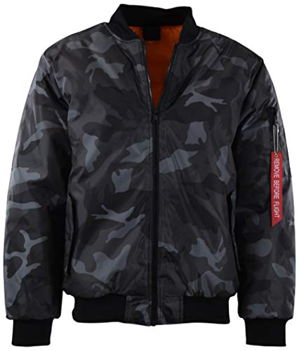 - Mens Premium Quality Bomber Flight Jacket (XL, 5308-Charcoal Camo)
