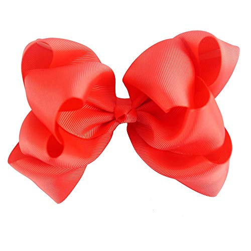 - 5 Inch Candy Solid Hairbow Handmade Double Stacked Hair Bows Grosgrain Ribbon Hairclips For Kids Hair Accessories poppy red