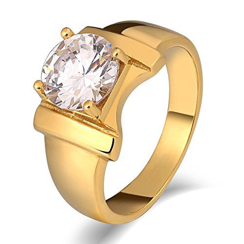 It Bag The Avon (AMDXD Jewelry Men Stainless Steel Wedding Ring Bownot Round Cubic Zirconia Gold Ring US Size 12)