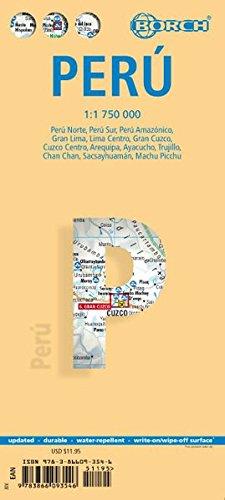 Peru: 1:1 750 000. Einzelkarten: Peru Norte 1:1 750 000, Peru Sur 1:1 750 000, Peru Amazonico 1:2 500 000, Lima Centro 1:18 000; Gran Lima 1:150 000, ... 1:10 000, Machu Picchu 1:44 000 (Borch Maps)