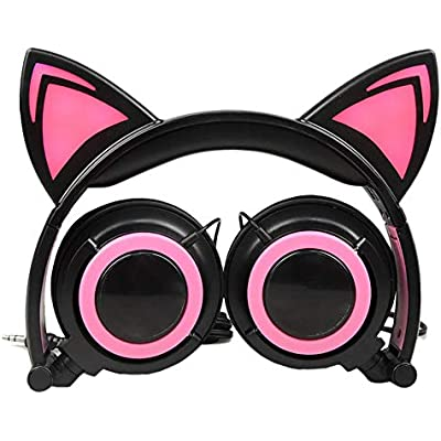 Mackur Foldable Flashing Earphone Cat Ear Headphones Gaming Headset With LED Light For Mobile Phone Pad Kids Girls  Color Red