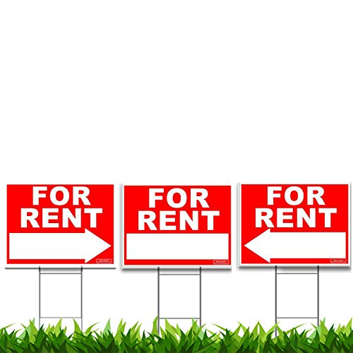 Large FOR RENT Sign Kit with Tall Stands - Yard Sign Bundle for Rental Property - Include (1x) 24