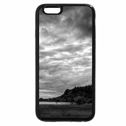 iPhone 6S Case, iPhone 6 Case (Black & White) - kids playing on the shore of the douglas river in england