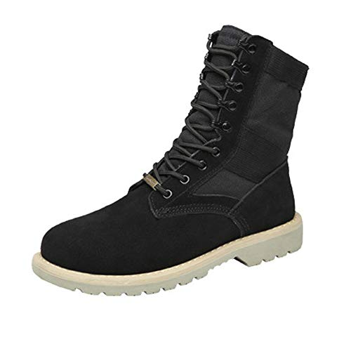 Lace Women's Top US Color 8 D Casual Size Leather Ankle Boots High amp;Baby High Shoes Sunny Combat Canvas Durable up Genuine Warm Martin Splice Vamp Black Lovers Boots Top Men's M xAwvEqn10