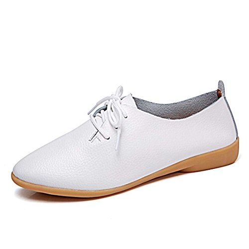 YIBLBOX Women Girls Lace Up Flats Loafers Leather Driving Moccasins Ofiice Casual Shoes White
