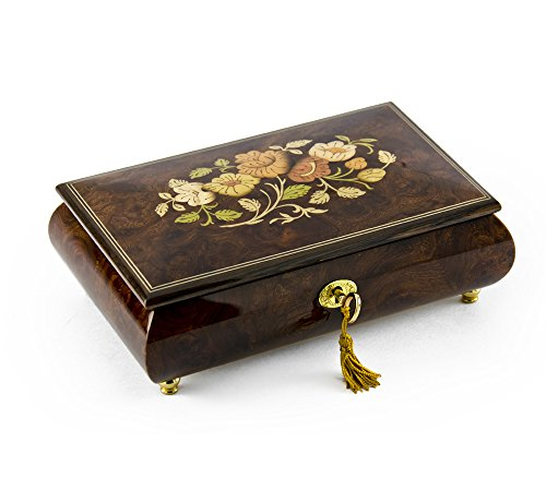 Gorgeous 18 Note Dark Natural Wood Tone Floral Inlay Musical Jewelry Box with Lock and Key - There is No Business Like Show Business by MusicBoxAttic