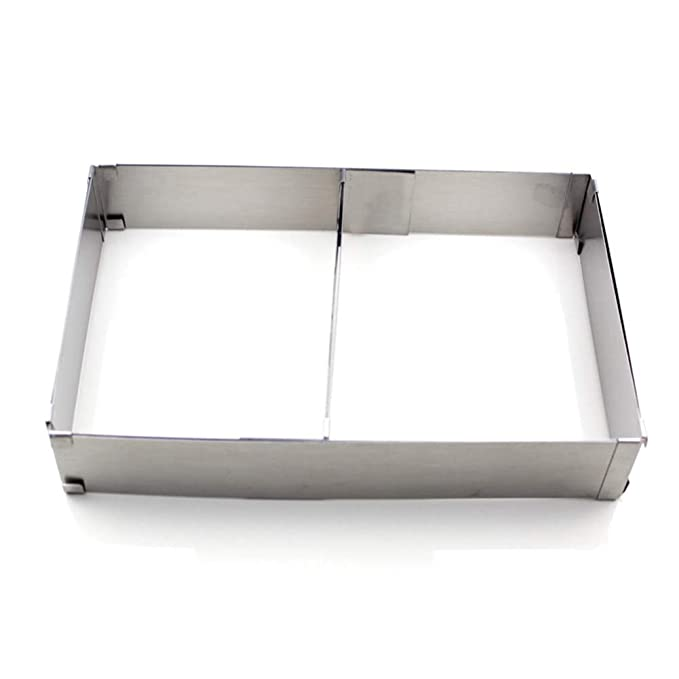 Molde para tartas rectangular ajustable - cuadrado, extensible, 5 cm de alto, acero inoxidable, 100% resistente al óxido, apto para lavavajillas Tamaño ...