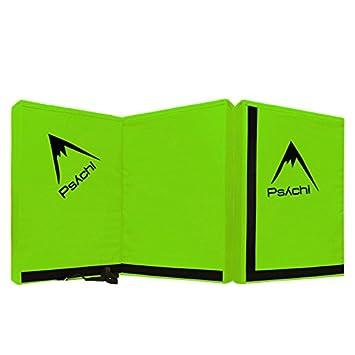 Colchoneta triple para escalada búlder, de Psychi, con correas, plegable, verde, 90*180*12.5cm