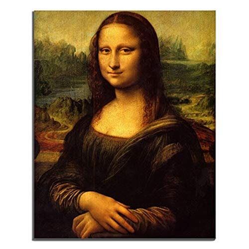 Canessioa Wall Art Canvas Painting Mona Lisa Smile Mysterious Color Strong Color Contrast Great Artwork Wall Decor for Living Room Bedoom Kitchen Office Corridor Staircase(12x16inch Unframed)