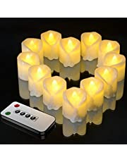 LED Flickering Tea Lights with Timer, Ymenow Battery Operated Fake Tealights Electric Flameless Votive Candles for Home Wedding Birthday Decoration