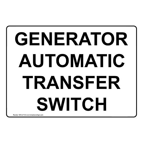 Generator Automatic Transfer Switch Label Decal, 5x3.5 in. 4-Pack Vinyl for Electrical by ComplianceSigns