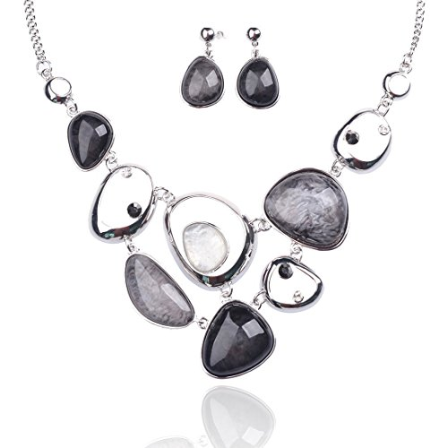 - Vintage Statement Necklace and Earrings Sets for Women Girls - Designer Chunky Jewelry Set (Grey)