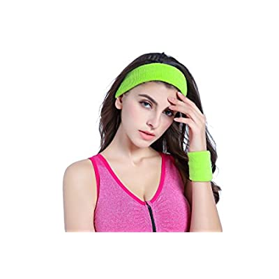 KIMBERLY S KNIT Women 80s Neon Pink Running Headband Wristbands Leg Warmers Set (Free, Black): Clothing