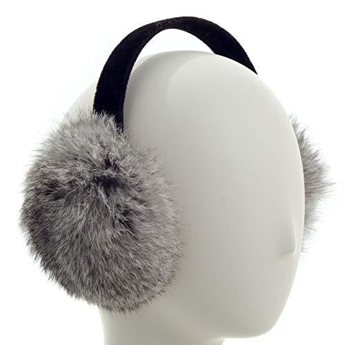 (Surell Long Hair Rabbit Fur Earmuff with Velvet Band Winter Ear Warmer (Chinchilla))