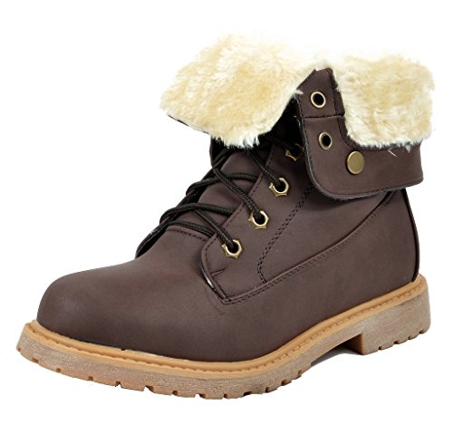 Winter Booties (DREAM PAIRS MONTREAL Womens Winter Faux Fur Lined Collar Rubber Outsole Snow Ankle Booties Brown Size)