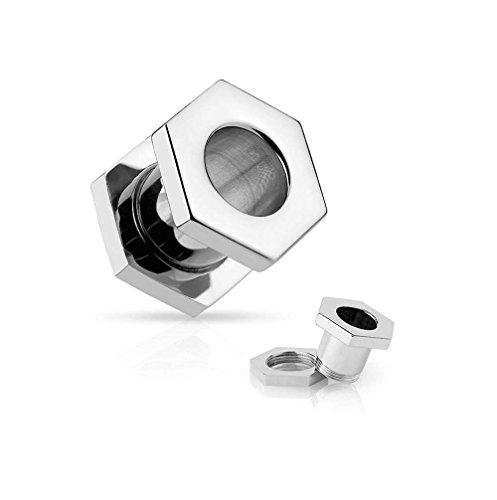 Covet Jewelry Stainless Steel Screw Fit Hexagon Flesh Tunnel (6GA (4mm)) -