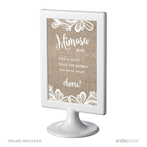 Andaz Press Burlap Lace Print Wedding Collection, Framed, Build Your Own Mimosa Sign Pick a Juice, Pour the Bubbly Champagne, Top with Fruit Cheers! Dessert Table Sign, 4x6-inch, 1-Pack