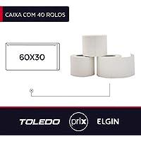 40 Rolos Etiquetas Adesivas para Balanças Toledo/Prix 60x30