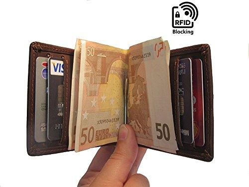 Geldklammer Kreditkartenetui mit RFID Blocker, Vintage echtes Leder Kartenhalter für 6 Karten mit Geldklammer