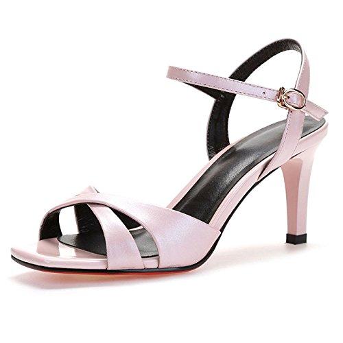 Joker DKFJKI Pink Chaussures Mode Sandales en pour Cuir Mot Robes Talons Hauts Femmes Boucle A6qAWCvrn