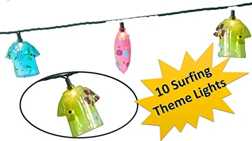 TopNotch Outlet Surfer Lights - String Lights - Fun Surfing Hawaiian Shirt Theme Lights for Your Home Garden Deck or Patio - Tiki Bar Decor - Patio Lights - Tropical Beach Surfboards ()