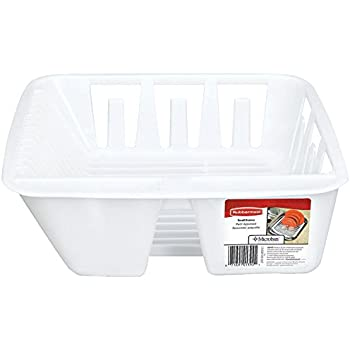 Rubbermaid AntiMicrobial In Sink Dish Drainer, White, Small (FG6049ARWHT)