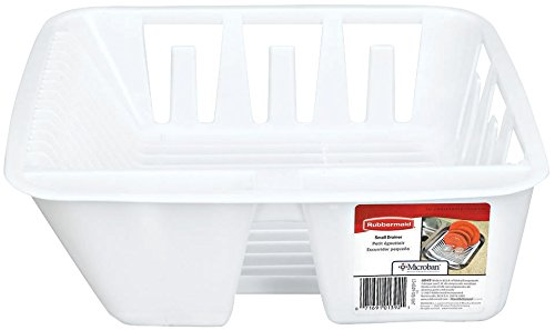 (Rubbermaid Antimicrobial in-Sink Dish Drainer, White, Small (FG6049ARWHT))
