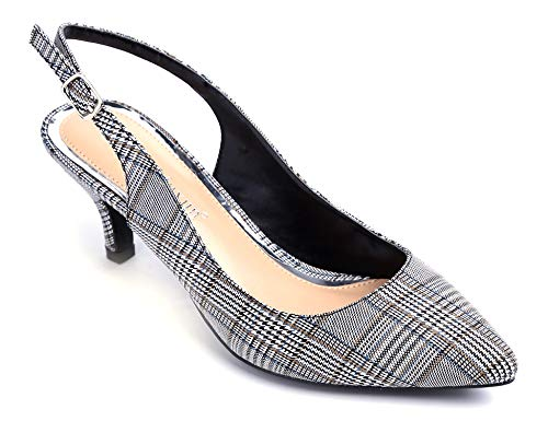 Greatonu Womens Slingback Dress Pump (9 US, Black Grids)