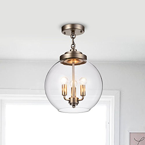 100w Semi Flush (Jojospring Luna Dark Antique Silver 3-Light Clear Glass Globe Iron Semi-Flush Mount)
